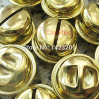 Wholesale Christmas Craft Charms - Wholesale-50 pcs   Lot 20mm Huge Gold Jingle Bell Pet Bell Charms craft sewing Free Shipping A82