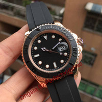 Wholesale mens automatic power reserve watch - Rose Gold Rubber Oysterflex Bracelet Fashion mm Ceramic Bezel Mens Watch Sports Luxury Brand AAA Men Wristwatch Automatic Watches