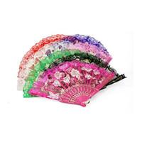 Wholesale Lace Bridal Fans - 100pcs Multi Color Folding Butterfly Design Organza Lace Hand Fan Bridal Wedding Favor Supplies Gift Party Souvenir Gift