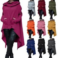 Wholesale Sleeves Irregular Blouse - 10 Colors Fashion Hoodies Irregular Long Sleeve Jackets Women Solid Casual Coat Autumn Blouses Sweatshirts Pullover Outwear CCA7373 4pcs