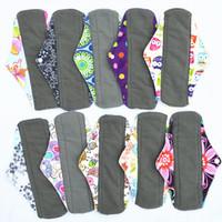 "Wholesale Mamas Pads - [Sigzagor]CHARCOAL BAMBOO Cloth Menstrual Sanitary Maternity Mama Pads Reusable Washable 10"" Regular Light Flow,Medium,M 25 Choice"