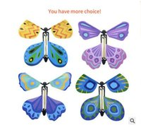 Wholesale Magic Plastic Flying Butterfly Card Toys In the Book Rubber Band Powered Easy Magic Tricks Props for Children Gift