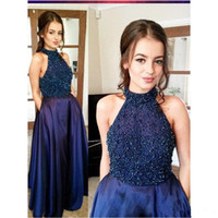 Wholesale halter dress pockets - Fashion Navy Blue 2017 Beaded Party Prom Dresses Vestidos De Fiesta Beaded Halter Neck Floor Length Backless Evening Gowns with Pockets