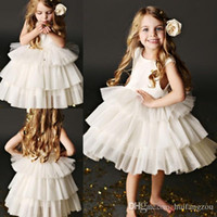 Wholesale pure white flower girl dresses - Princess Pure White Sweety Short Pure White 2017 Ball Gown Flower Girl Dresses Jewel sleeveless Zipper Tulle Tiered Skirts Knee Length gowns