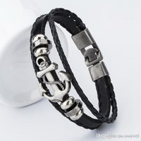 Wholesale Men S Bracelets Stainless - Popular anchors leather bracelet hand - woven multi - layer bracelet trend charm men and women Valentine 's Day gifts