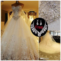 Wholesale Real Pnina Tornai Wedding Dresses - Modest sparkly 2017 Crystal lace Wedding Dresses Luxury Cathedral Train Bridal Gowns Real Image plus size wedding gown Pnina Tornai