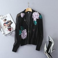 Wholesale European and American women s wear Autumn new fund Stereoscopic applique of fashion gauze jacket