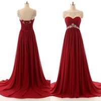 Wholesale Bridesmaid Dressess - Elegant Cheap High Quality Prom Dressess Long Formal Custom Made Dark Red Chiffon Evening Party Gowns Crystals Sheer Neck Bridesmaid Gown
