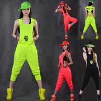 Wholesale Harem Jazz Sport Pants - New fashion Hip Hop Dance Costume performance wear European loose leopard harem jazz jumpsuit sports one piece Pants