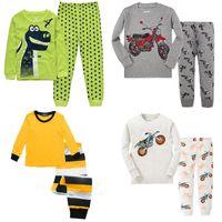 Wholesale Motor T Shirts - Dino Boys Sleepwear Suits 100% Cotton Long Children Clothes Sets Motor T-Shirts Pants 2-Pieces Sets Kid Pyjamas 2 3 4 5 6 7 Year