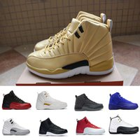 Wholesale Retro Wool - 2018 air retro 12 Basketball Shoes Wool Pinnacle Metallic Gold OVO white Deep Royal Blue GS Barons Flu Game Taxi the master sneakers