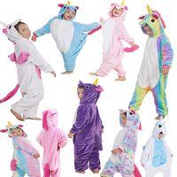 Wholesale pyjamas baby - Kids Flannel Unicorn Animal Pajamas Baby Cosplay Cartoon Horse Sleepwear Boys Girls Pyjamas Home Clothes 9 Styles OOA3341