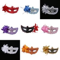 Wholesale masquerade masks paper - New Exquisite Lace Rhinestone Leather Mask Masquerade Halloween Party Flower Princess Mask For Lady Purple Red Black Gold Pink Silver M19