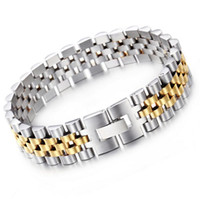 Wholesale stainless steel bracelet 15mm - 9.5mm 15mm Silver  Gold Hiphop Stainless Steel Fashion New design watchstrap type Chain Link Bracelet Bangle for Women Men gifts 20-20.5CM