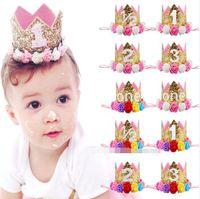 Wholesale Baby Birthday Crowns - Baby Girls Flower Crown headbands girls Birthday Party Tiara hairbands kids princess hair accessories Glitter Sparkle Cute Headbands
