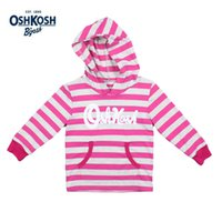 Meney's oshkosh baby - OshKosh Sweatshirts for Girls Pink Hoodies Kids Autumn Hoody for Girls Striped Brand Outdoor Sport Outerwear Baby Clothes Hooded