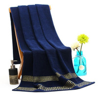 handtücher bäder großhandel-Luxus 100% Baumwolle Badetuch Marke Serviette de Bain Adulte Stickerei große Strandtücher 70x140cm