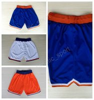 New York 25 Derrick Rose Basketball Shorts Hommes Cheap 7 Carmelo Anthony Short Pant Breath Running Short Couture Équipe Blue White Orange