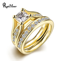 Wholesale Rose Gold Color Jewelry Set - RAVIMOUR Zircon 2 Rounds Rings Sets Fashion Jewelry Punk Rose Gold Silver Color Crystal Anillos Mujer Jewelry Party Accessories