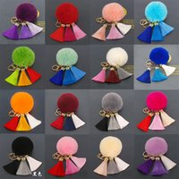 Wholesale Keyring Beautiful - New Design Fancy Pom Pom Fur Tassel Keychain Fashion Decoration Beautiful Tassel Pom Fur Ball Keyring