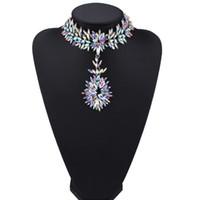 Wholesale Black Jewelry Designers - hot sale high quality Fashion jewelry lady woman luxury full rhinestone diamond crystal pendant designer statement choker necklace