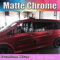 Wholesale Chrome Vinyl Rolls - Satin chrome Vinyl Car Wrap Film with air bubble free Red blue & pink & tiffany grey   like cast vinyl size 1.52x20m roll