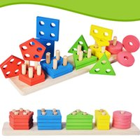 Wholesale stacking blocks for sale - New Montessori Geometric Intelligence Board Shape Sorting Stacker Matching Building Blocks Kid Wooden Column Stacking Game Baby puzzle Toys