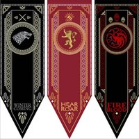 Wholesale Game Thrones House - Game of Thrones Flages 48*150cm House Stark Tournament Polyester Banner Flag Home Decor 14 Styles OOA2801