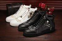 Wholesale Clay Skulls - pp men shoes top quality brand Genuine leather Skull head Casual high top rivets Shoes 38-46