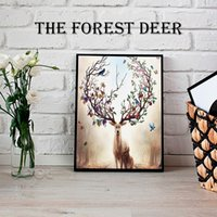 Wholesale Nursery Prints Animals - Sales promotio sika deer Canvas Painting Nordic Animals Poster Pop Wall Art Prints Scandinavian Decoration Pictures No Frame Home Decor
