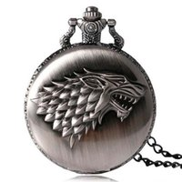 Wholesale pocket watch silver antique - Ancient Silver Bronze Game of thrones Winter is Coming Stark Wolf Pocket Watch Necklace Fashion Jewelry Gift Drop Shipping