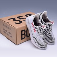 Wholesale Elastic Shoes - 2017 SPLY-350 Boost V2 2016 New Kanye West Boost 350 V2 SPLY Running Shoes Grey Orange Stripes Zebra Bred Black Red white orange 10 Color