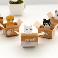 pegatinas de papelería al por mayor-Kawaii Cute Carton Cat Kitty Memo Pads Notas adhesivas Pegatinas Etiqueta Stick School Office Stationery Message Planner Writing.30pcs \