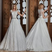 Wholesale Dhl Bridal Gowns - DHL Free Shipping Beautiful Lace Wedding Dresses A Line Scoop Neckline Cap Sleeves Appliques with Sash Long Bridal Gowns Formal Vestidos
