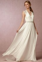 Wholesale Cheap Bridal Gowns Online - Chiffon Sheath Wedding Dresses Beaded Sash Summer V Neck Beach Bridal Gowns Boho Cheap Wedding Gown Shopping Online