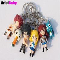 Wholesale New Fairy Tail Keychain Natsu Happy Lucy Gray Erza Key Ring Pendant Anime Figure Model cm Kids Toys Gift Free Tracking