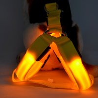 Wholesale Fall Harness - Safety Dog Pet Belt Harness Glow LED Flashing Light Leash Tether Colors light up dog harness pet supplies