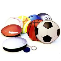 Sports Key Bag Baseball Football Football Basketball Bowling Tennis Billard Imprimer Coin Bag Porte-monnaie en cuir en cuir Mini portefeuille