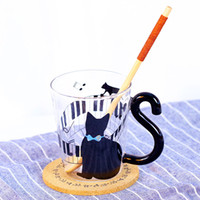 Wholesale Espresso Mugs - Glass Cup Cute Creative Cat Mug Cup Tea Milk Coffee Cups Blue Dots Espresso Sets for Birthday Gift Glass Drinkware Couples Cup