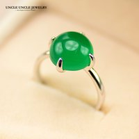 New Arrival Man-Made Green Opal Woman Anel de ouro branco Cor Round Opal Stone 4 Prongs Lady Finger Ring Atacado