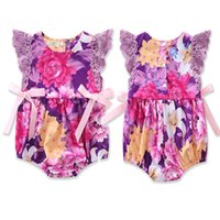 Wholesale Wholesale Pink Onesie - Baby girls flower lace flying sleeve romper sweet girls pink ribbon bowknot purple floral onesie ins hot baby summer clothing for 0-2T