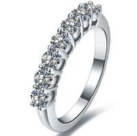 sonsuzluk elmas yüzük toptan satış-Yeni Stil 0.7 karat SONA Benzetilmiş Elmas Infinity Gümüş Alyans Kadınlar Için Düğün Bantları Gümüş Yüzükler Drop Shipping