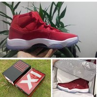 Com Box Air Gym Red Mens Basketball shoes Retro 11 Sneaker Patent Leather + Nylon 11s High top Trainer tamanho 41-47
