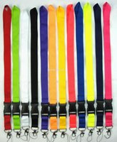 Wholesale Brands Badge Holder - FREE SHIPPING 100 Pcs MIX Solid color Sport Brand Logo key lanyard ID badge Holders mobile neck strap keychains Wholesale