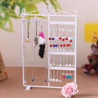 Wholesale Metal Frame Display - Women Wrought 32 Hole Earrings Jewelry Display wall mounted frame Rack Metal Holder Iron Convenient Jewelry Showcase 3 colours