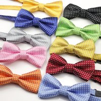 Wholesale Opening Performance - Kids jacquard dots bow tie school uniform accessory props boys girls opening ceremony school opening day performance bowknot ties