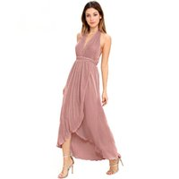 Wholesale Sweet Lady Maxi - Backless Maxi Dress Women Sleeveless Off Shoulder Female Asymmetrical Dress Sweet Style Solid Ladies Casual Dress