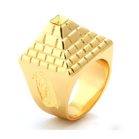 Wholesale Egyptian Rings - Classic hip-hop trendsetter Egyptian pyramids ring Gold men's Ring Jewelry