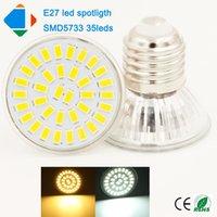 Wholesale E 27 Led - 5x led bulbs e 27 12w spotlight ultra brightness 110v 220v E27 smd5733 35leds warm white nature white glass cup led spots light
