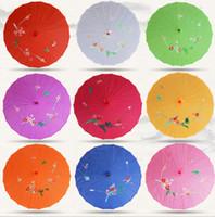 10pcs Lot Assorted Colors Wedding Parasols Silk Parasol Oriental Bamboo Parasol Sun Umbrellas Bridal Accessories Floral Pattern Umbrella